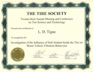 Investigation of the Influence of Safe Sealant Inside the Tire on Motor Vehicle Vibration Behavior